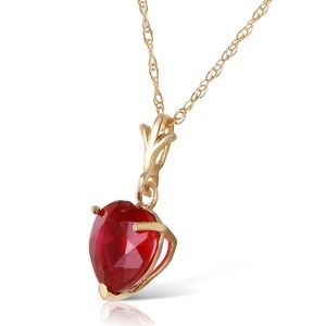 14K. SOLID GOLD NECKLACE WITH NATURAL HEART RUBY